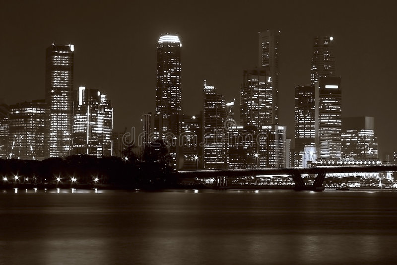 Download Singapore Skyline At Night Royalty Free Stock Photography - Image: 1444307