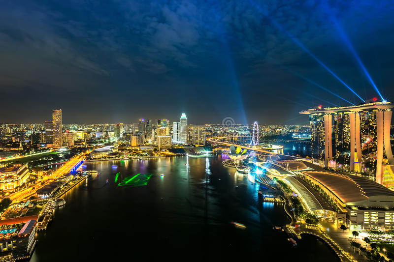 Download Singapore skyline at night stock photo. Image of southeast - 40156202