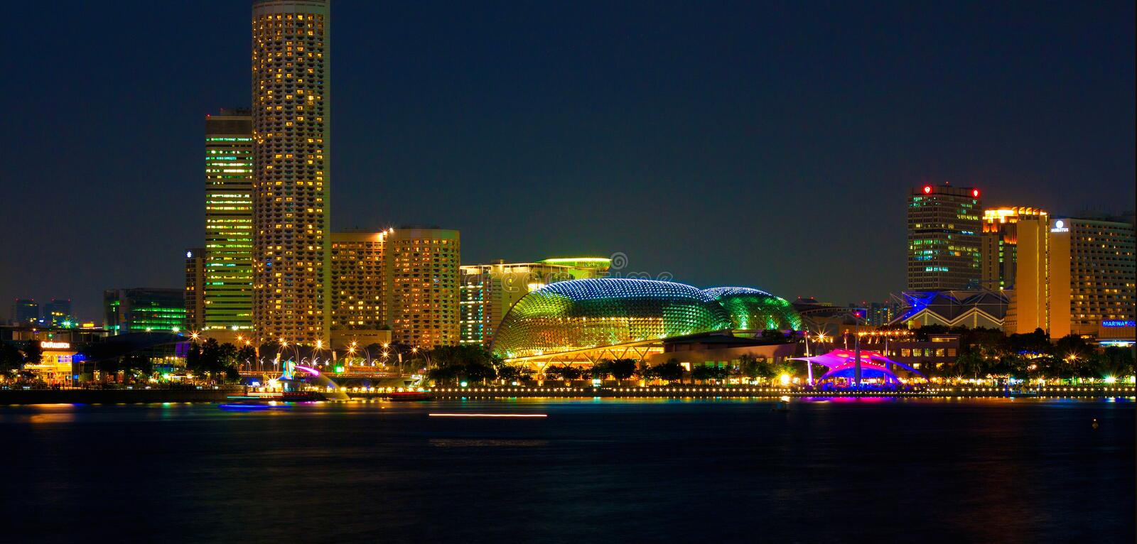 Singapore Skyline at Night. Taken from marina bay, featuring esplanade royalty free stock photos