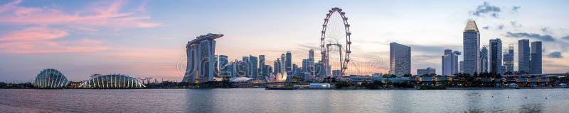 Singapore Skyline. Panorama of Singapore Skyline at sunset stock photos