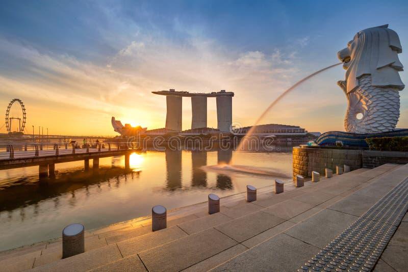 Singapore Skyline. Singapore`s business district, famous Merlion on sunrise royalty free stock images