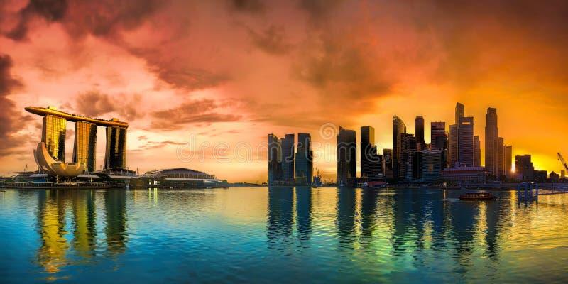 Singapore Skyline at sunset. Panorama of Singapore city skyline at sunset royalty free stock photo