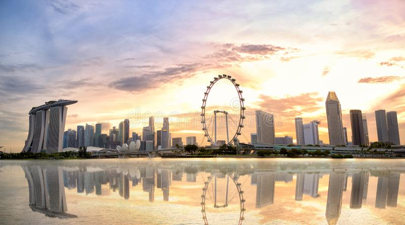 Singapore skyline at sunset. Singapore skyline panorama with Marina Bay at sunset stock photography