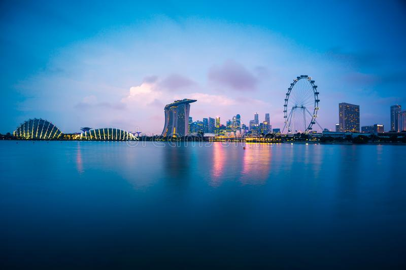 Singapore skyline at sunset in Singapore city. Panorama royalty free stock images