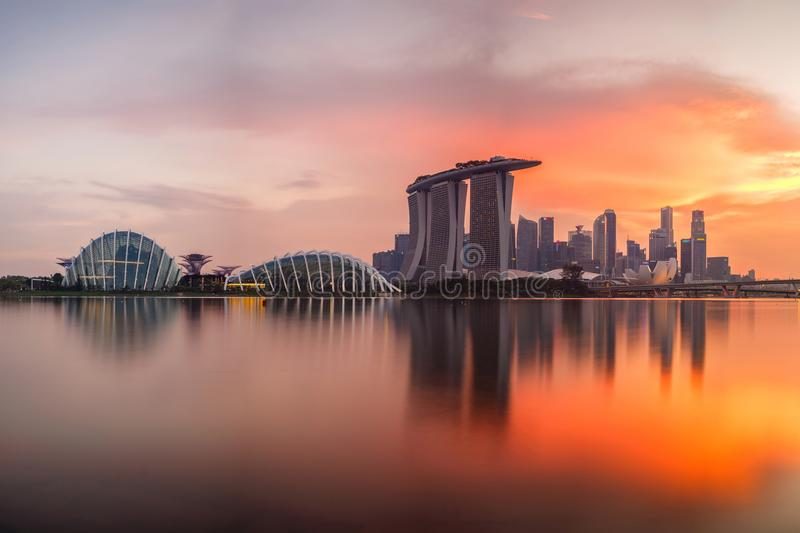 Singapore skyline at sunset time. In Singapore city stock image