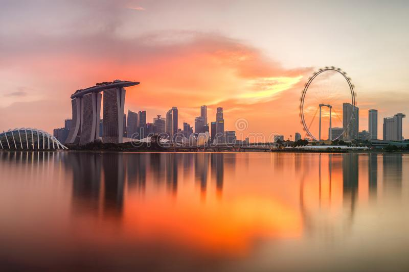 Singapore skyline at sunset time stock images