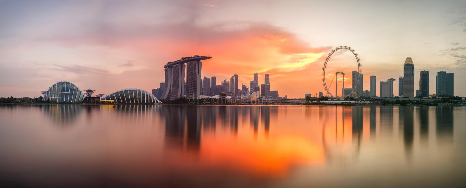 Singapore skyline at sunset time. In Singapore city royalty free stock image