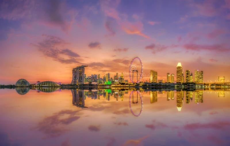Singapore Skyline at sunset. View of Singapore city skyline at sunset royalty free stock photo