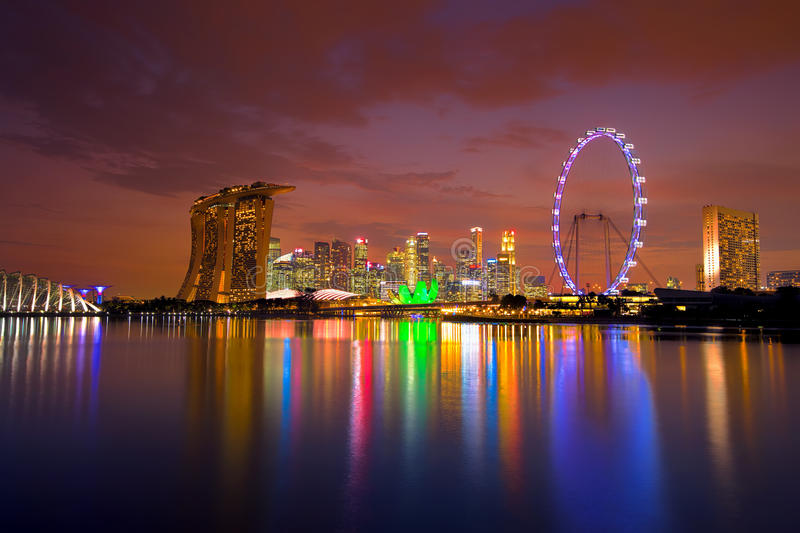 Singapore Skyline at sunset. View of Singapore city skyline at sunset stock images