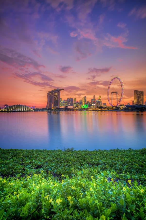 Singapore Skyline at sunset. View of Singapore city skyline at sunset stock image