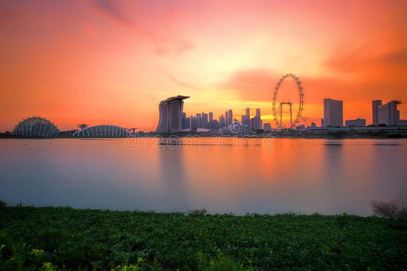 Singapore Skyline at sunset. View of Singapore city skyline at sunset royalty free stock photography