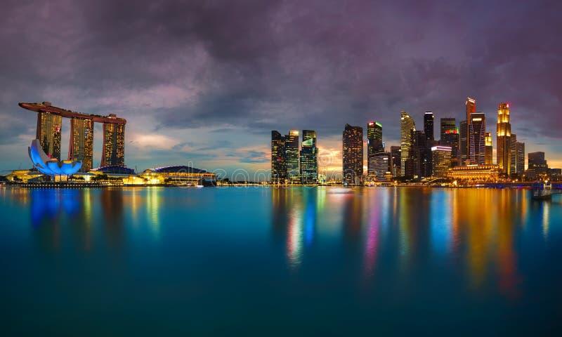 Singapore Skyline at sunset. View of Singapore city skyline at sunset stock photo