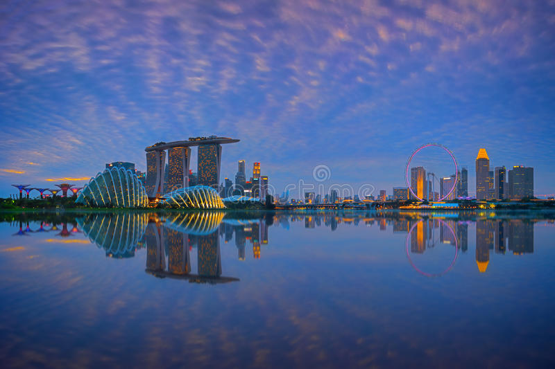 Singapore Skyline at sunset. View of Singapore city skyline at sunset royalty free stock images