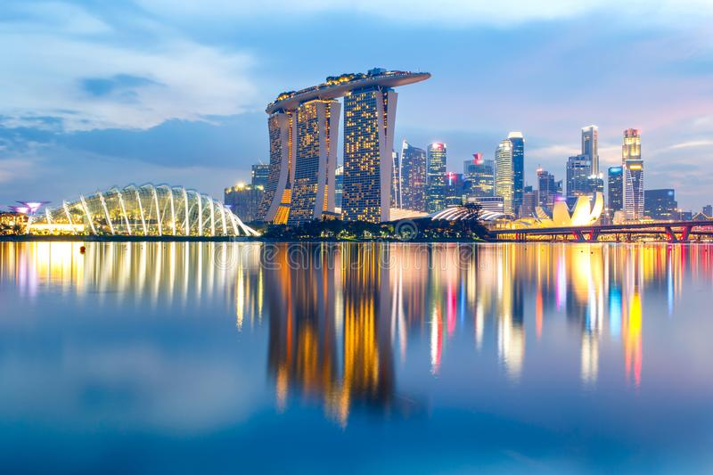 Singapore skyline at twilight time royalty free stock image