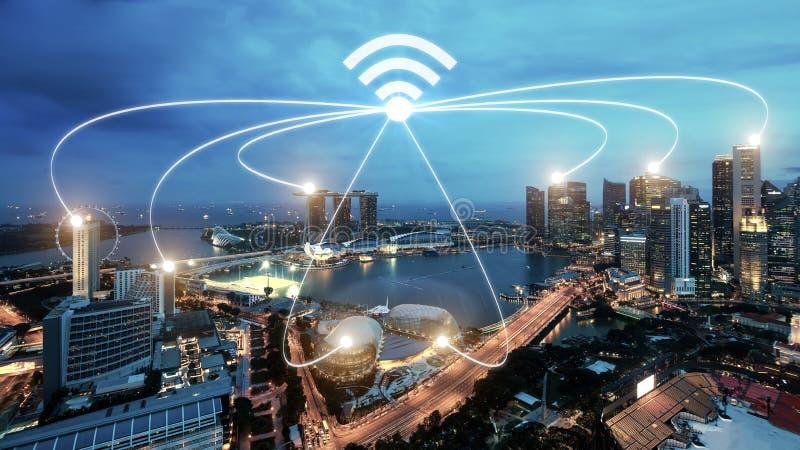 Singapore smart city and wifi communication network, smart city. And network connection concept stock photo