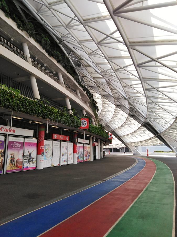 Peripheral community runwayof the Singapore Sports Hub. Singapore Sports Hub also provides various facilities for the community, experience project planning and royalty free stock image