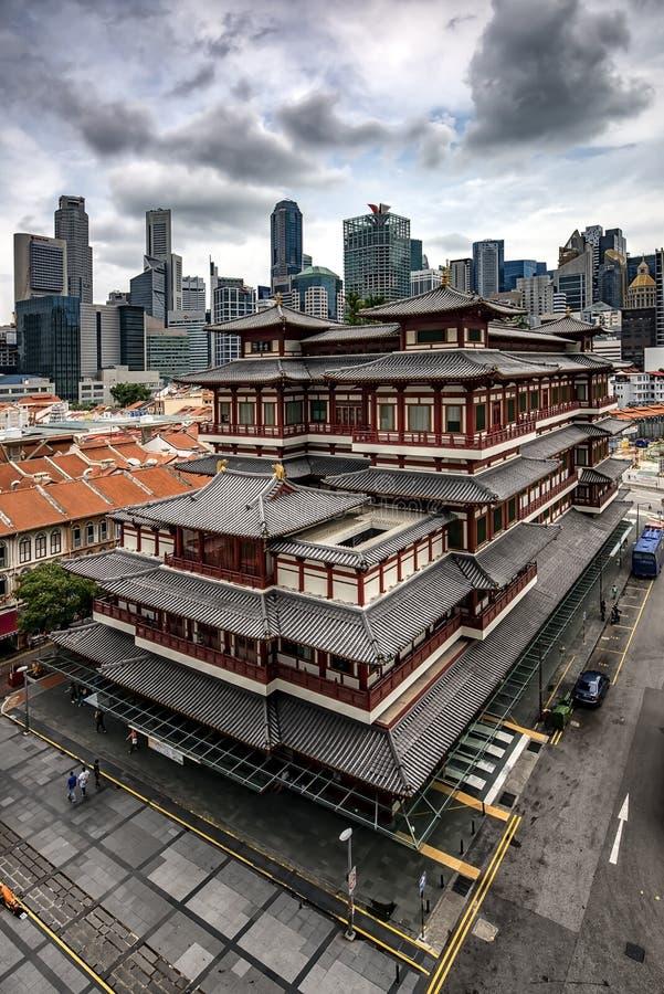 Singapore stad i afton fotografering för bildbyråer