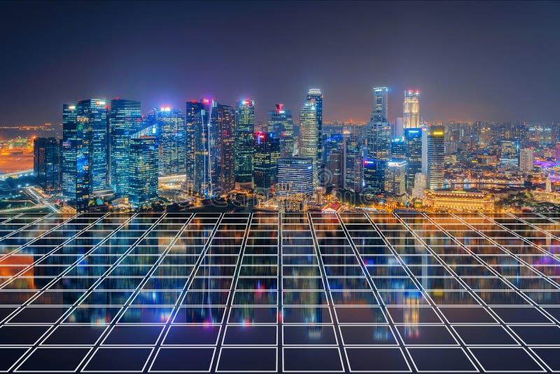 Singapore stad i Marina Bay område med tegelplattadurken Finansiellt område i centrum- och affärsmitt i smart stads- stad in royaltyfria foton