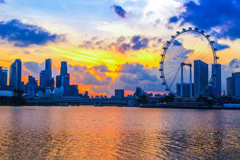 Singapore stad, Singapore: Januari 2,2018: Singapore horisont Singap fotografering för bildbyråer