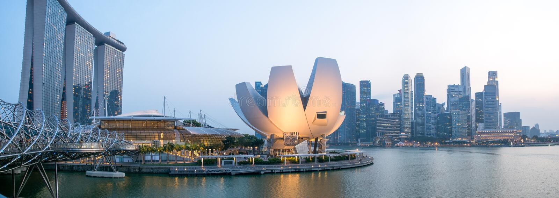 Singapore stad - panorama fotografering för bildbyråer