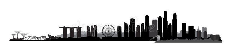 Singapore stad, Singapore Stads- horisont med skyskrapabyggnader stock illustrationer