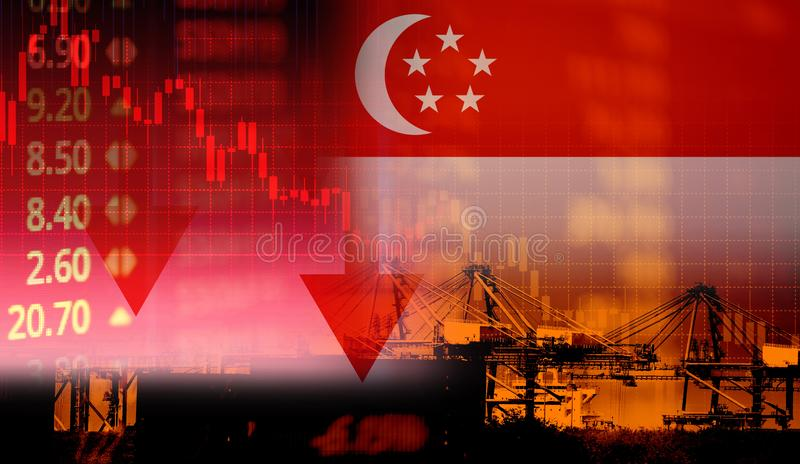 Singapore stock exchange market trading graph business crisis red price down chart fall finance economy Singapore reduced its royalty free stock photos