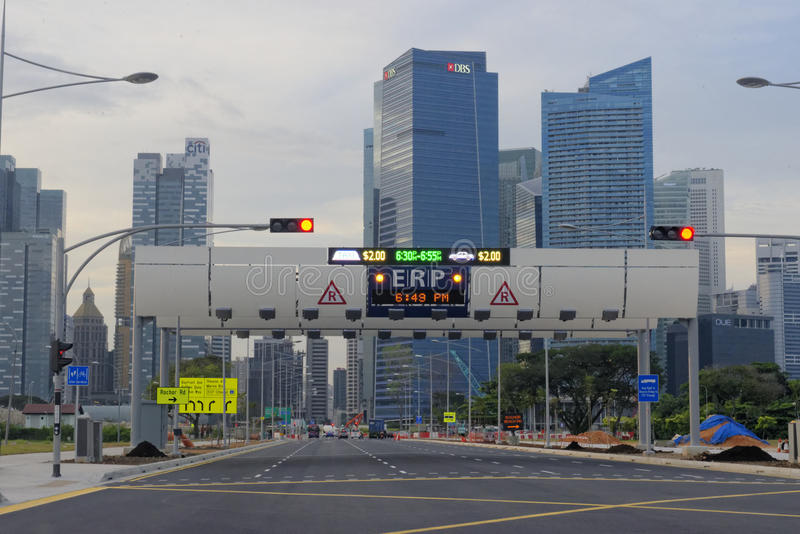 Singapore streets. The streets and traffic control in Singapore royalty free stock image