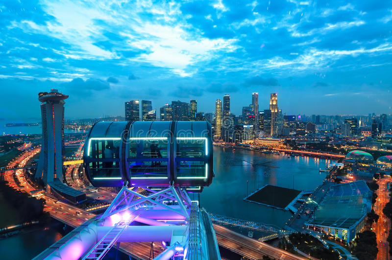 Download Singapore Sunset stock photo. Image of view, aerial, night - 37112420