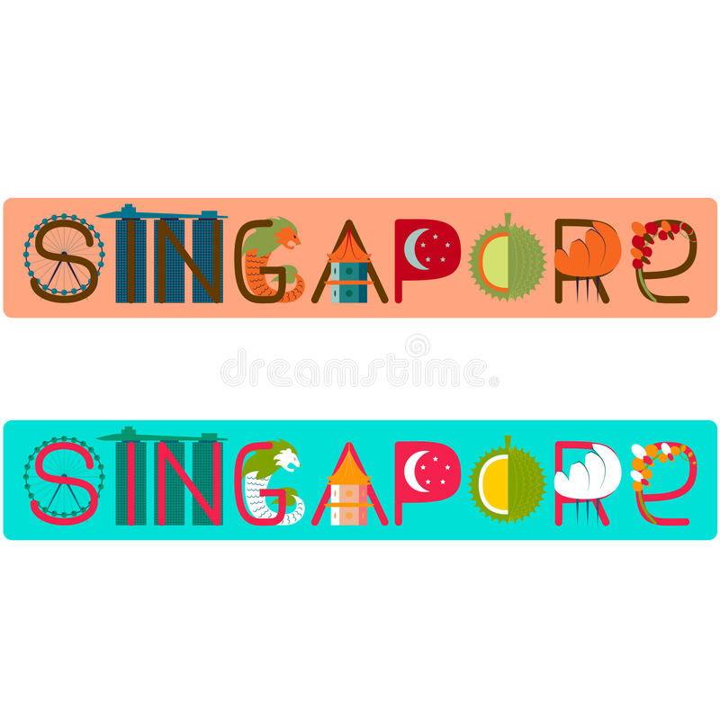 Singapore titel med illustrationen royaltyfri illustrationer