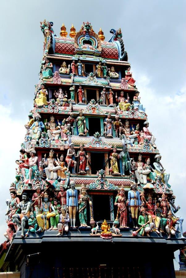 Singapore: Torre de Sikhara no templo de Sri Mariamman fotografia de stock