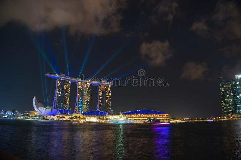 Singapore tourist attraction - night laser show at Marina Bay Sa stock photo
