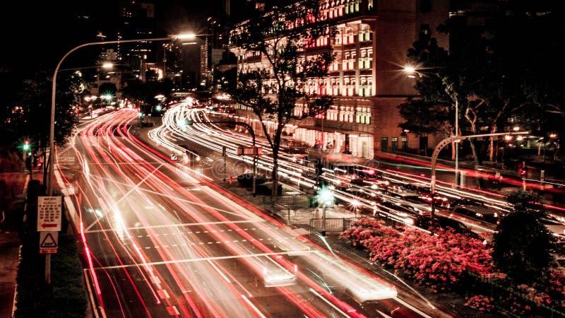 Singapore - tracce della luce di ora di punta a Hill Street fotografia stock