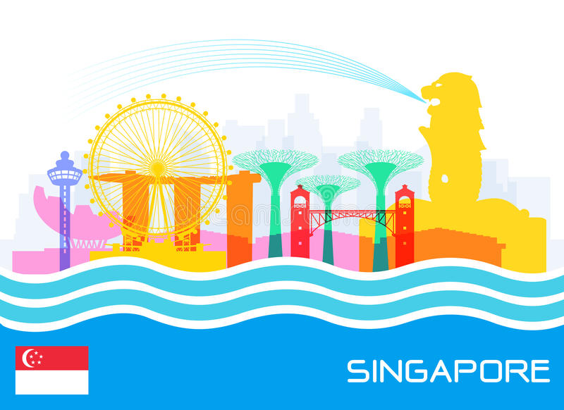 Singapore Travel Landmarks royalty free illustration