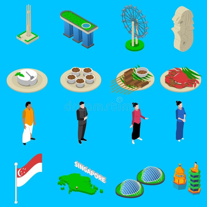 Singapore Travel Symbols Isometric Icons Set vector illustration