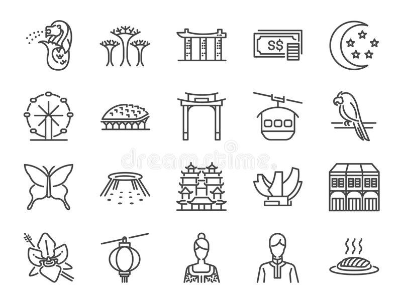Singapore trip icon set. Included the icons as Merlion, Singapore flyer, Esplanade, Botanic gardens, Butterfly garden, casino, hot royalty free illustration