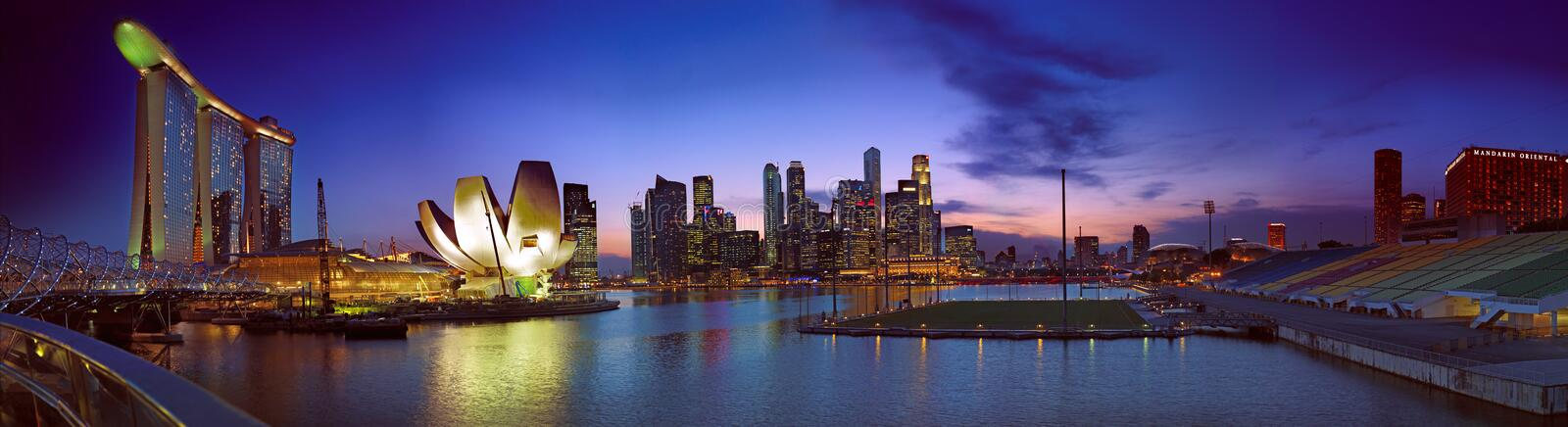 Singapore Twilight Landscape. The economy of Sinagpore has been well into recovery and its growth picking up depsite the gloom of the world. With the new Casinos royalty free stock photo