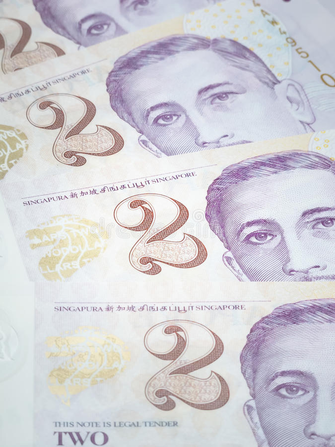 Singapore two dollar bills stock photo