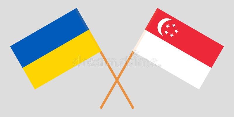 Singapore and Ukraine. The Singaporean and Ukrainian flags. Official colors. Correct proportion. Vector. Illustration vector illustration
