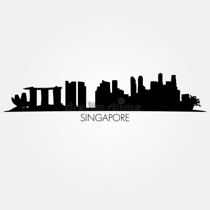Singapore vector skyline. Black silhouette stock illustration
