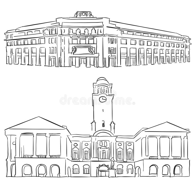 Singapore Victoria Concert Hall Historical Theatre royalty free illustration