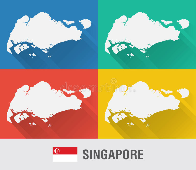 Singapore world map in flat style with 4 colors stock image image download singapore world map in flat style with 4 colors stock image image of gumiabroncs Images