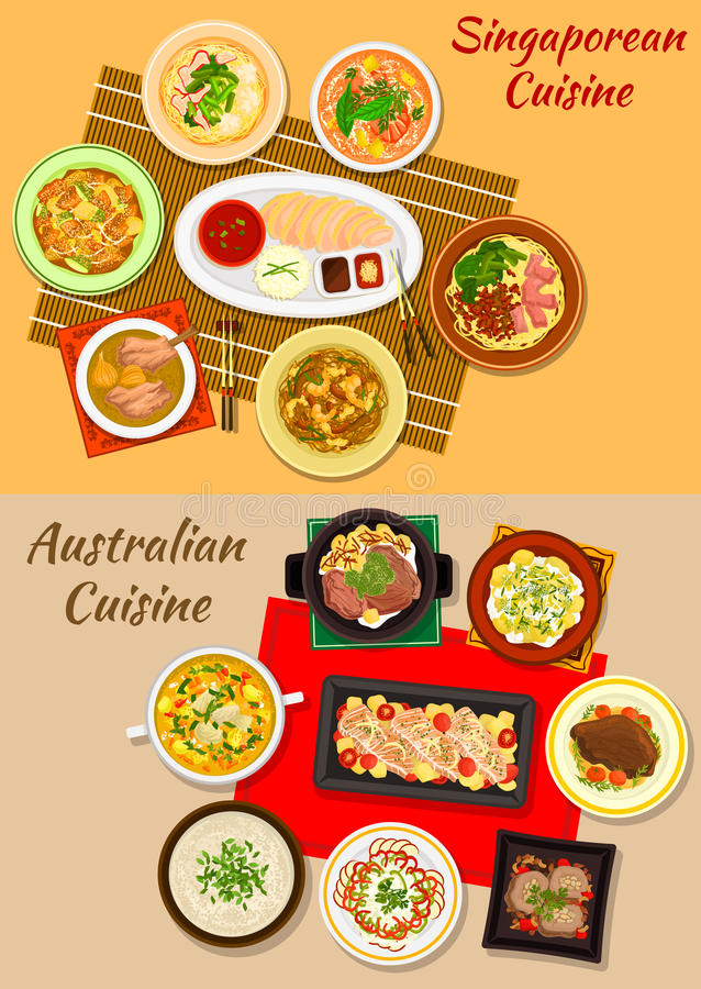 Singaporean and australian cuisine dishes icon stock illustration