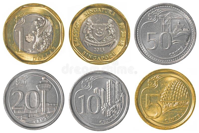 Singaporean dollar coins collection stock photos