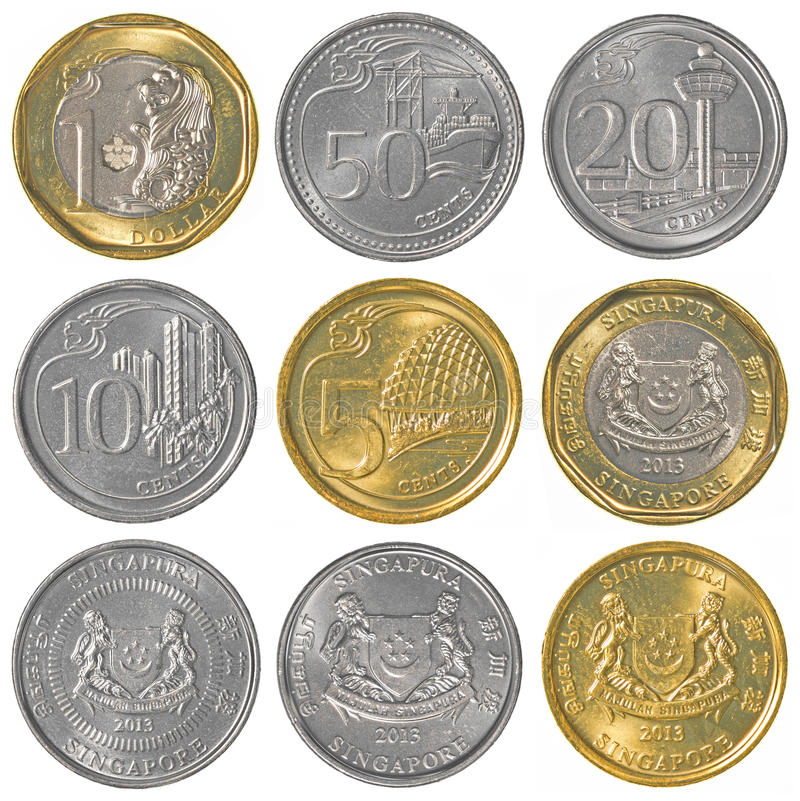 Singaporean dollar coins collection royalty free stock image
