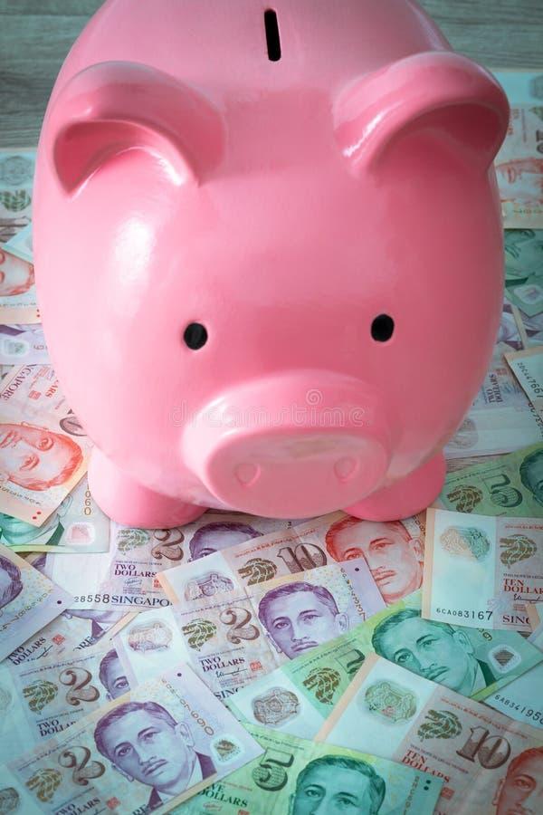 Singaporean dollars en spaarvarken Het sparen en het deponeren geld stock foto