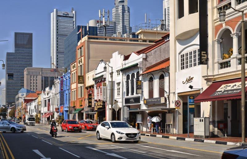 Singaporecolorful peranakan遗产房子在充分前殖民地区shophouses 免版税图库摄影