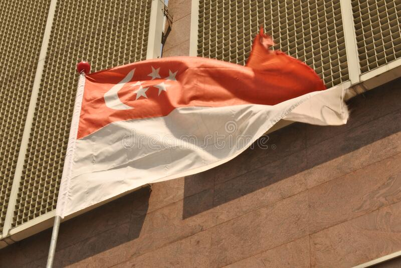 Singapores nationalflagga royaltyfria bilder