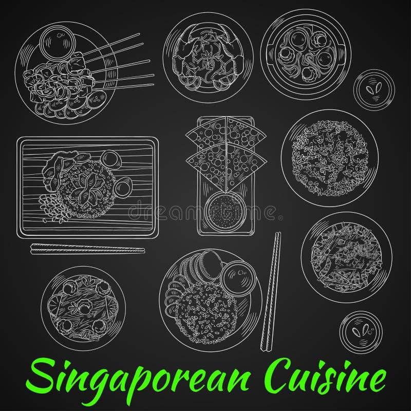 Singaporiansk matställekrita skissar på svart tavla stock illustrationer