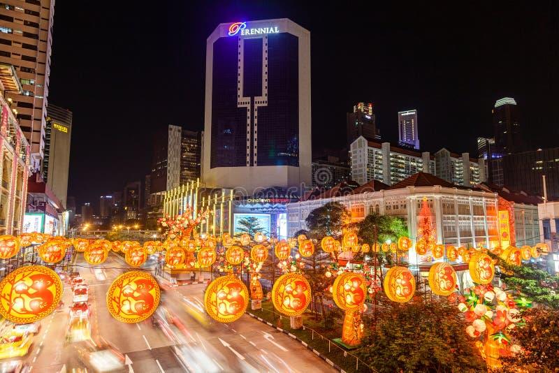 Singapour Chinatown s'allume pendant la nouvelle année chinoise photographie stock libre de droits