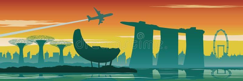 Singapour complètent des points de repère, la conception de silhouette, le style de couleur de vintage, le voyage et le concept d illustration libre de droits